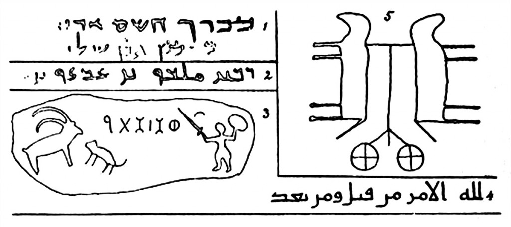Illustrations of inscriptions and petroglyphs in Euting's diary (1896: 152).