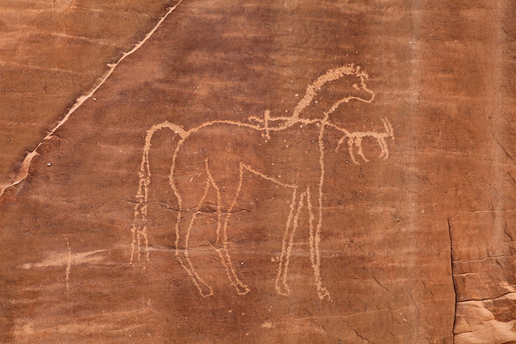 Horse at Jabala I, showing features of the Arabian breed.  In this case, based on a slightly lighter patina, the diminutive rider and ibex appear to have been added later.